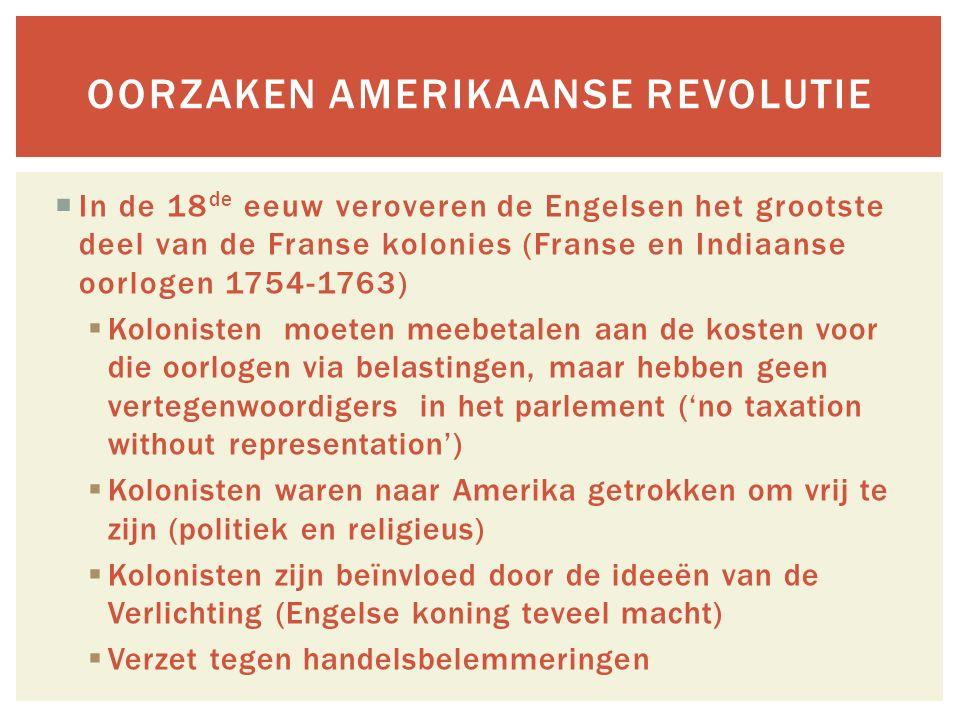 Oorzaken Amerikaanse revolutie