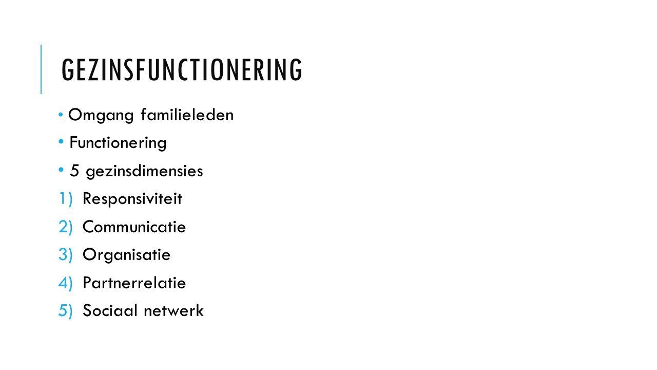 Gezinsfunctionering Functionering 5 gezinsdimensies Responsiviteit
