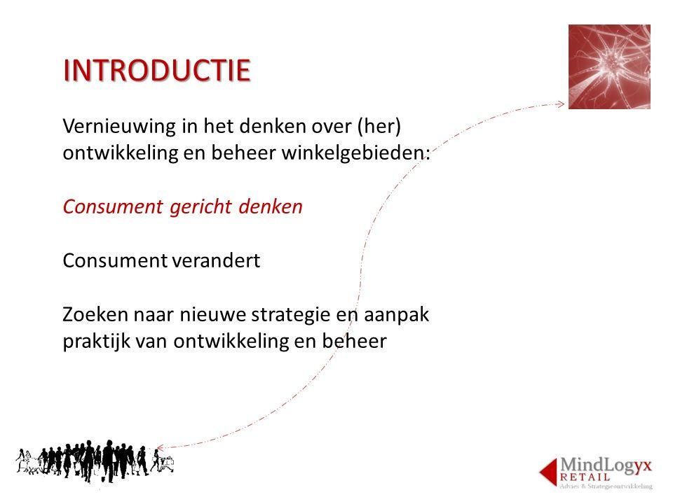 INTRODUCTIE Vernieuwing in het denken over (her) ontwikkeling en beheer winkelgebieden: Consument gericht denken.