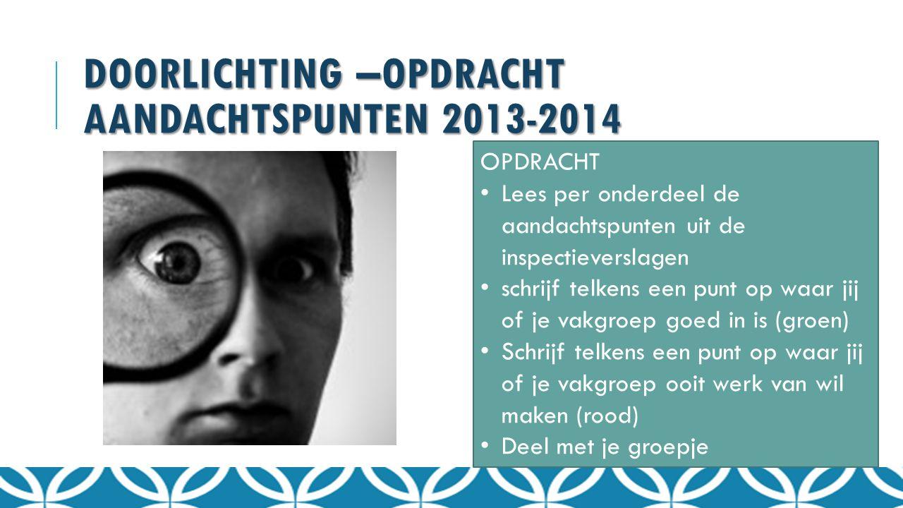 Doorlichting –OPDRACHT aandachtspunten 2013-2014