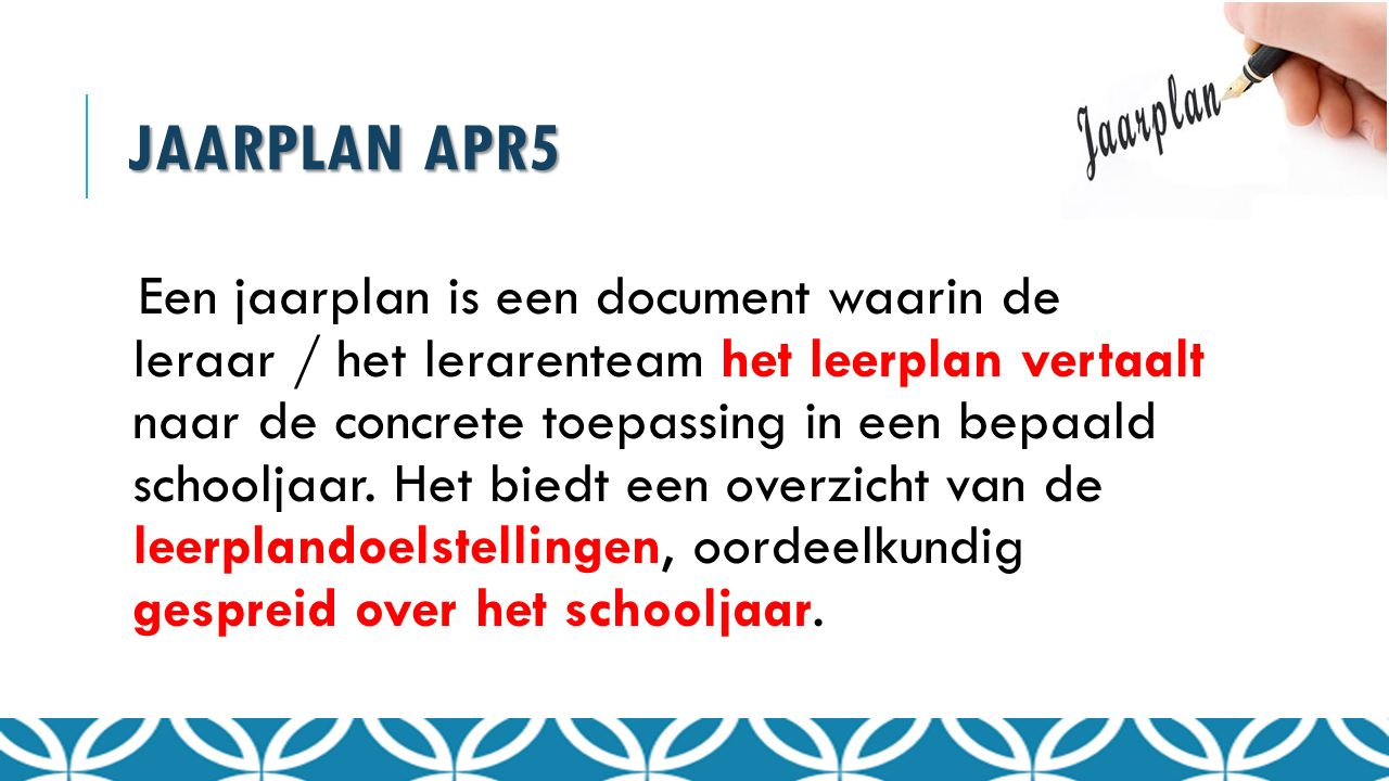 Jaarplan APR5