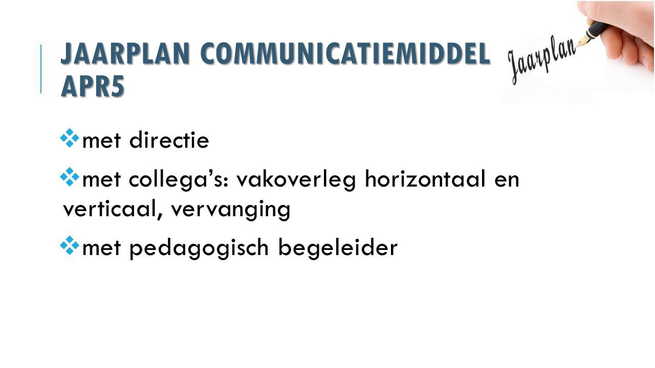 Jaarplan communicatiemiddel APR5