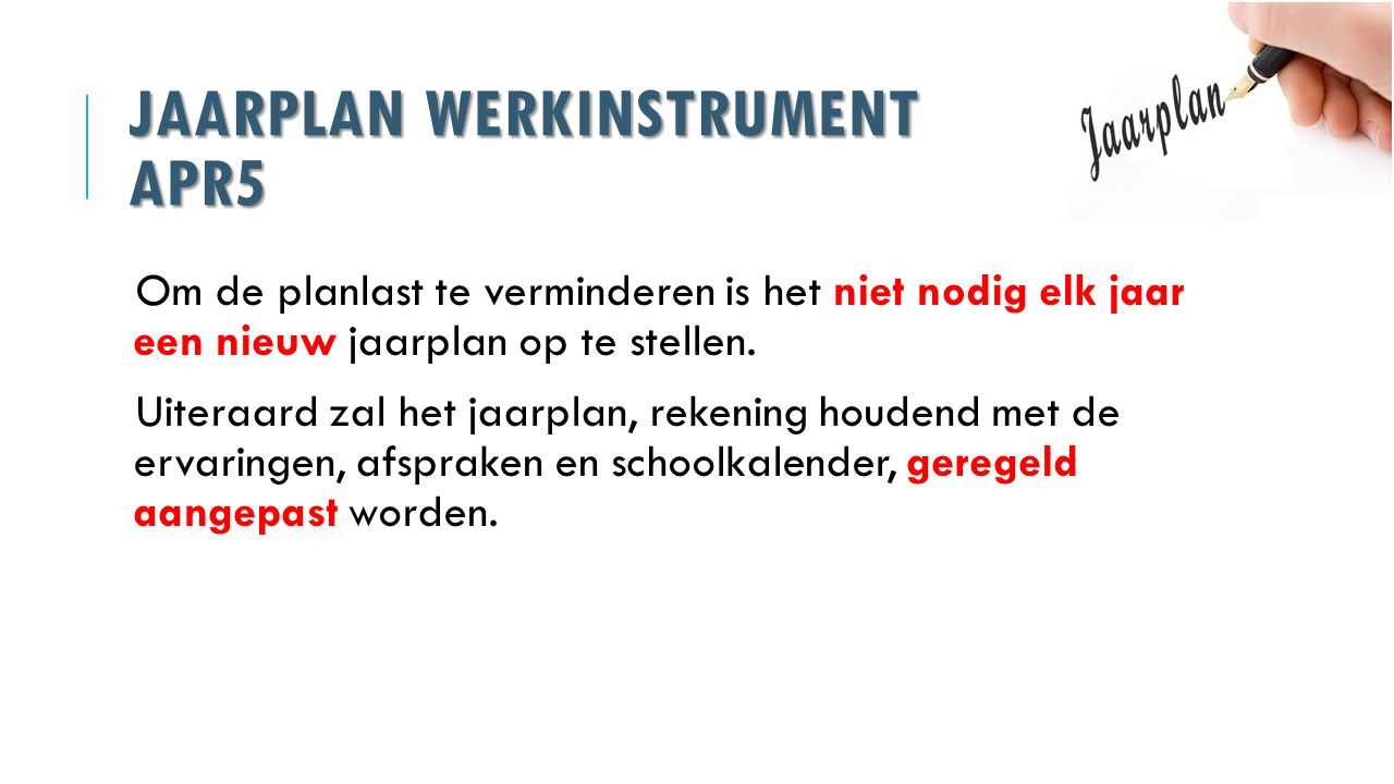 Jaarplan werkinstrument APR5