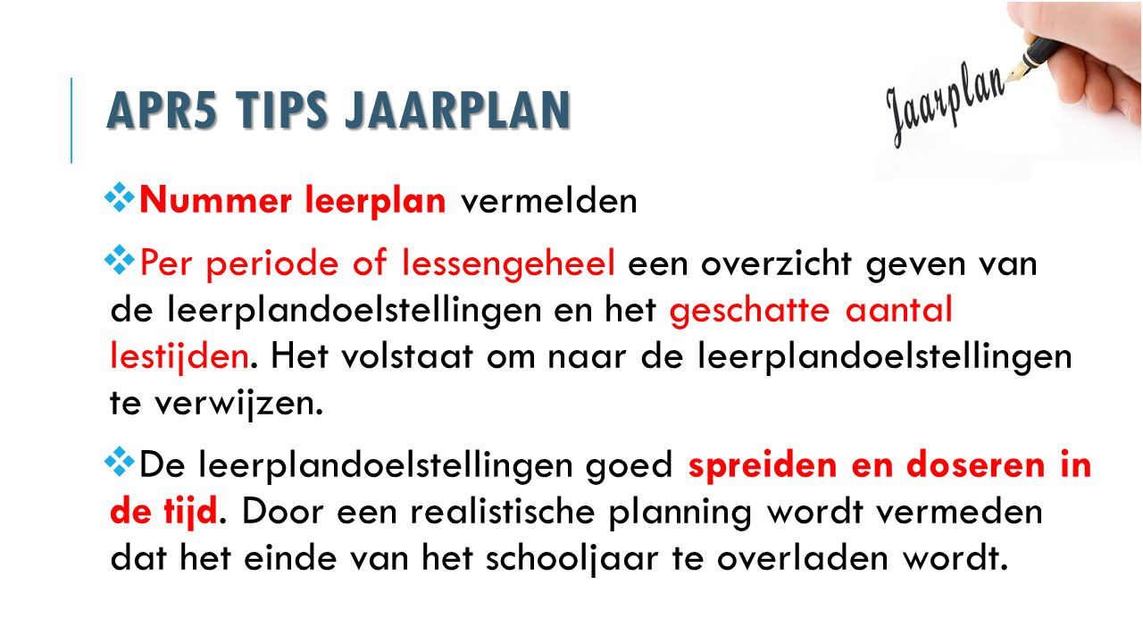 APR5 Tips jaarplan Nummer leerplan vermelden