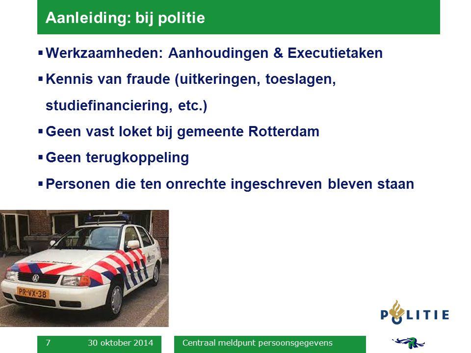 Aanleiding: bij politie