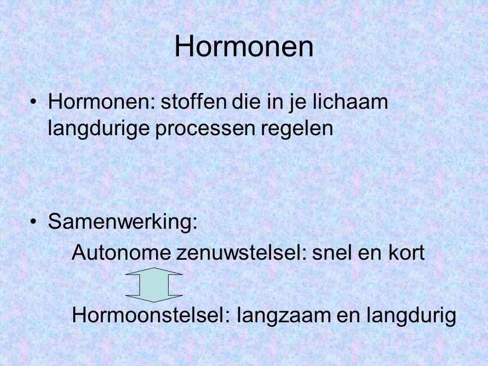 Hormonen Hormonen: stoffen die in je lichaam langdurige processen regelen. Samenwerking: Autonome zenuwstelsel: snel en kort.