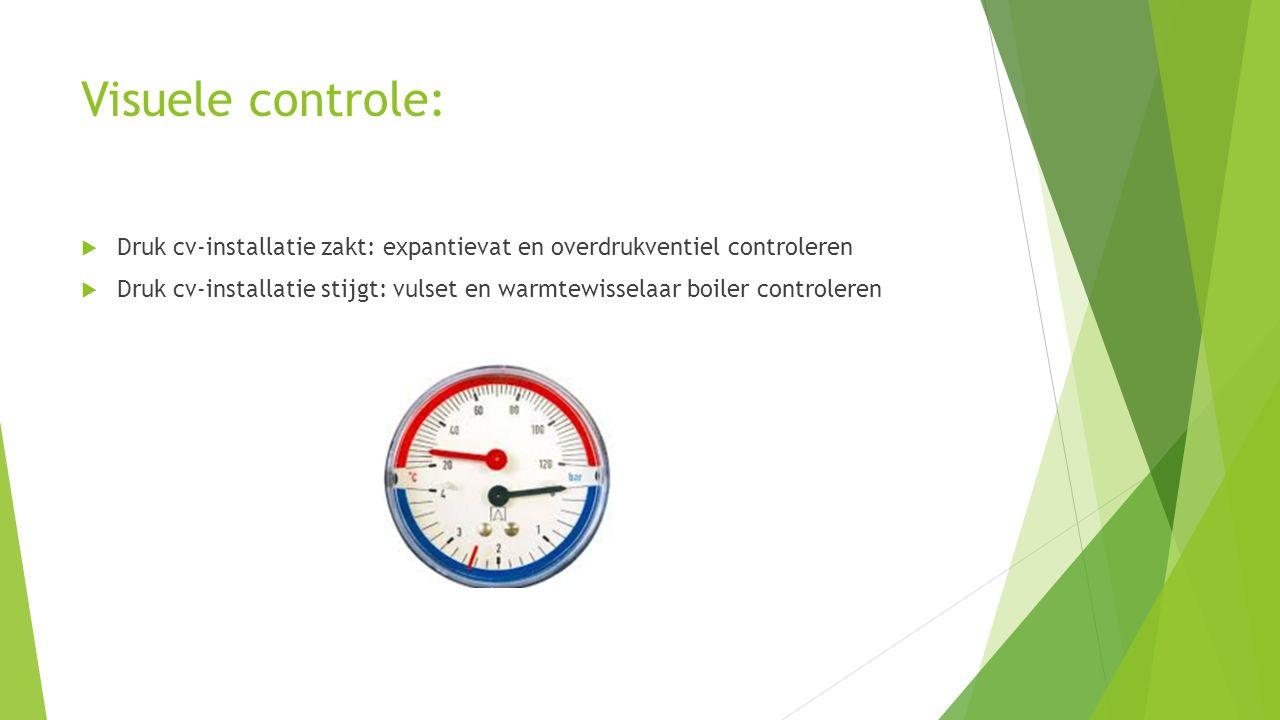 Visuele controle: Druk cv-installatie zakt: expantievat en overdrukventiel controleren.