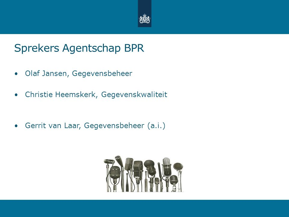 Sprekers Agentschap BPR
