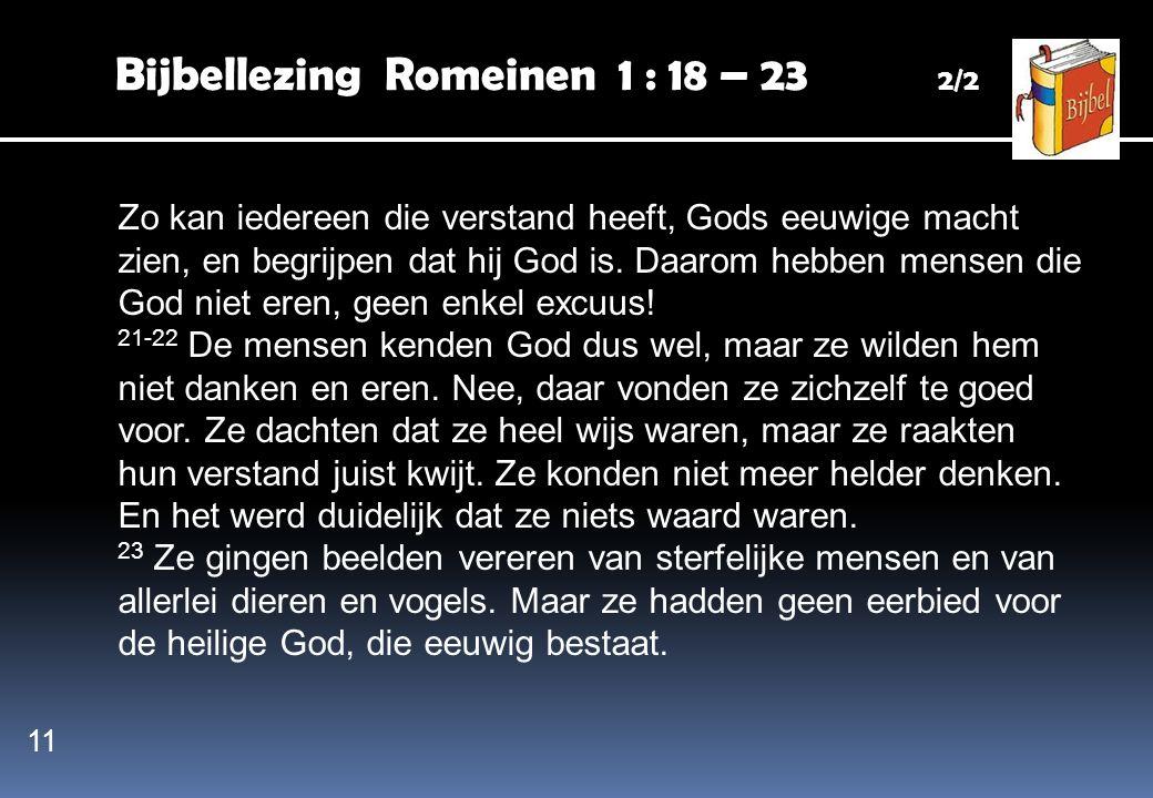 Bijbellezing Romeinen 1 : 18 – 23 2/2