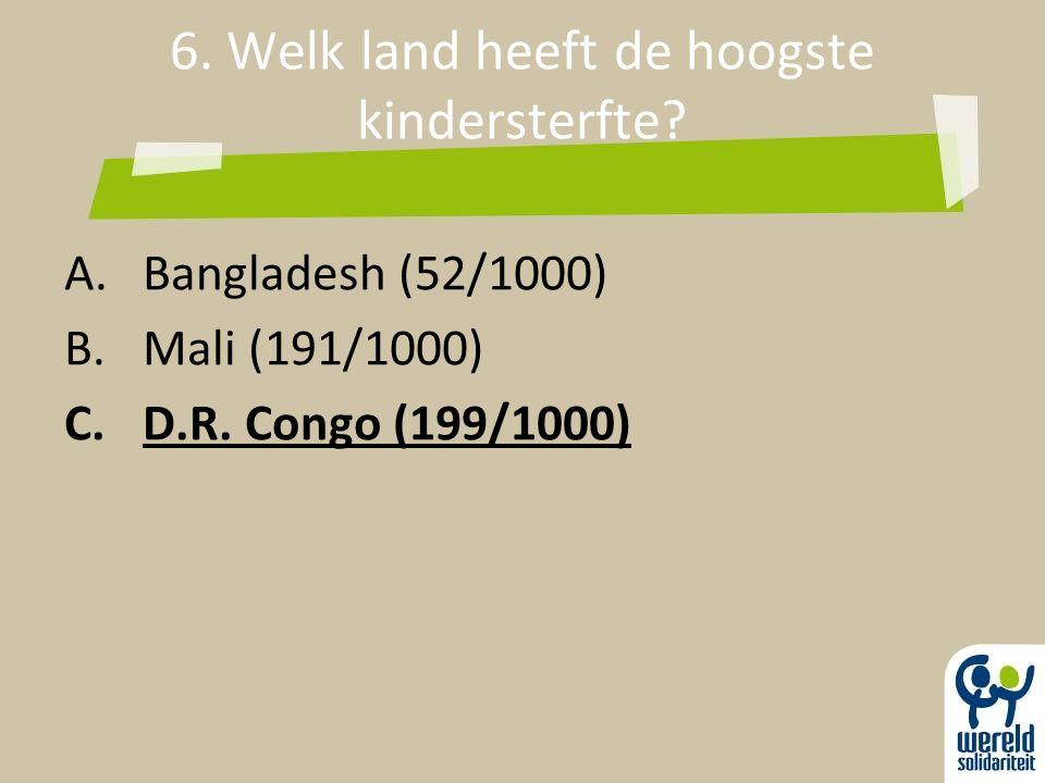 6. Welk land heeft de hoogste kindersterfte