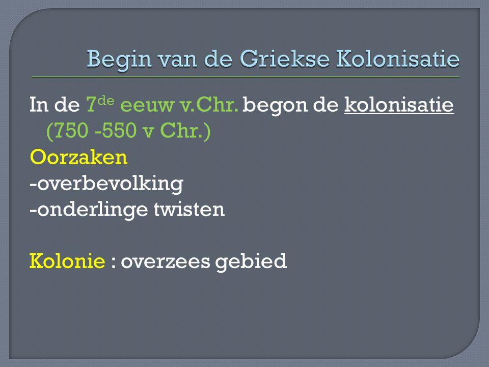 Begin van de Griekse Kolonisatie