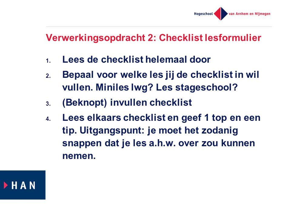 Verwerkingsopdracht 2: Checklist lesformulier