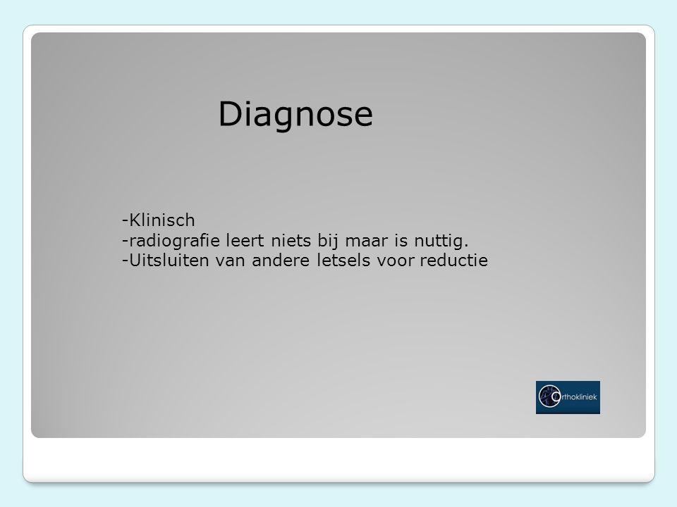 Diagnose -Klinisch -radiografie leert niets bij maar is nuttig.
