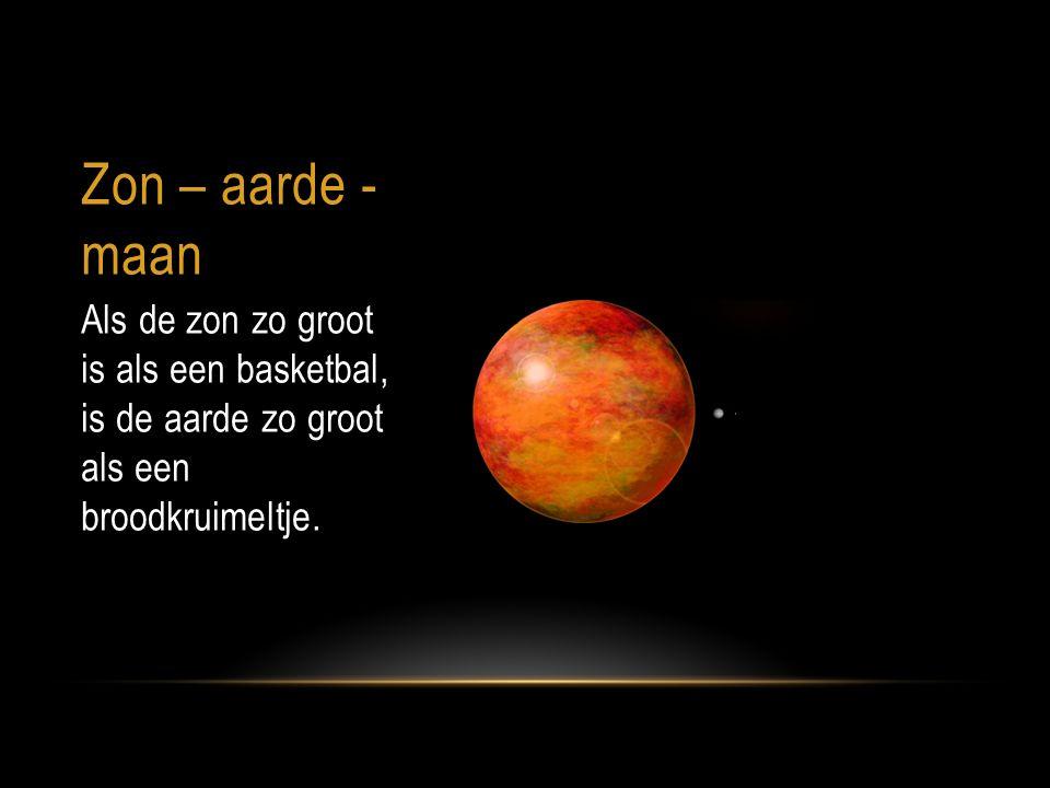 Zon – aarde - maan Als de zon zo groot is als een basketbal, is de aarde zo groot als een broodkruimeltje.