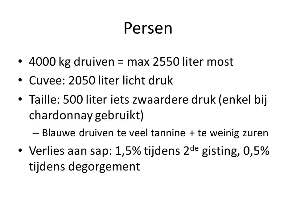 Persen 4000 kg druiven = max 2550 liter most