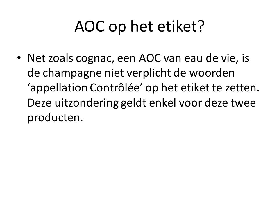 AOC op het etiket