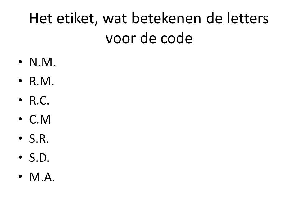 Het etiket, wat betekenen de letters voor de code