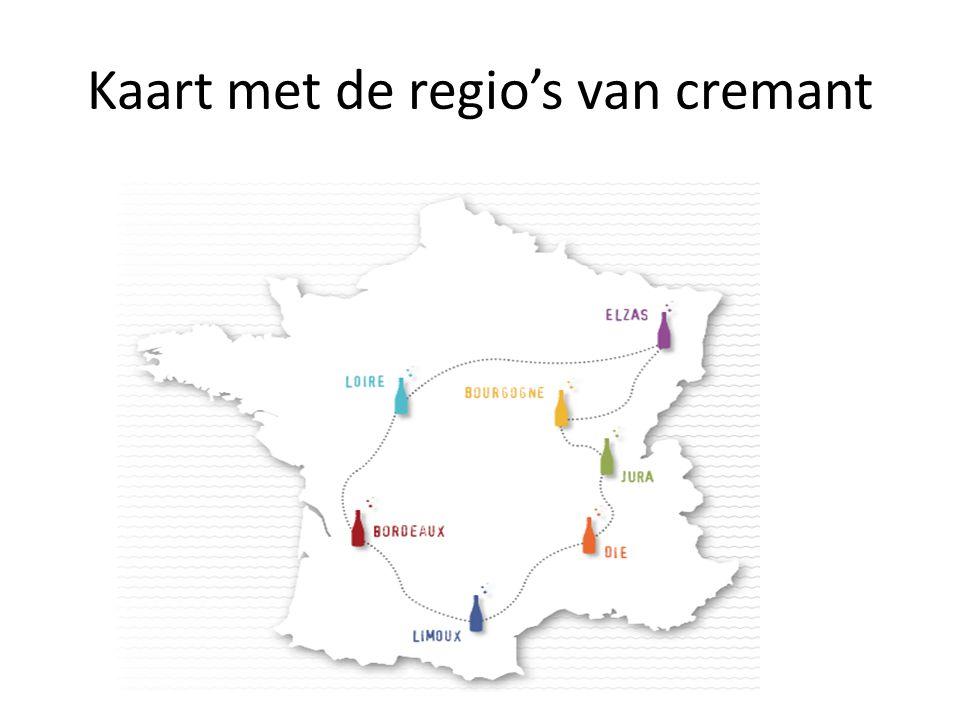 Kaart met de regio's van cremant