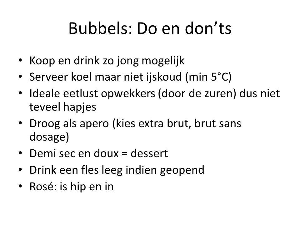 Bubbels: Do en don'ts Koop en drink zo jong mogelijk