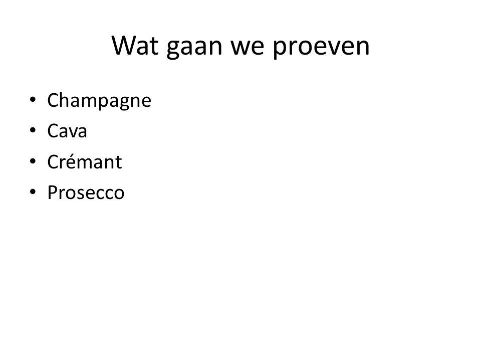 Wat gaan we proeven Champagne Cava Crémant Prosecco