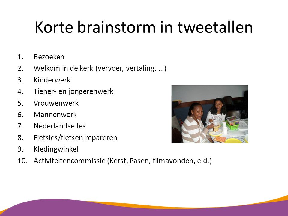 Korte brainstorm in tweetallen
