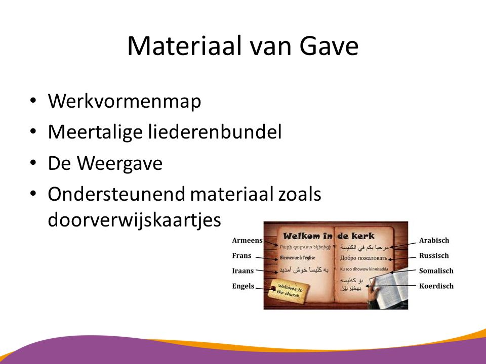 Materiaal van Gave Werkvormenmap Meertalige liederenbundel De Weergave