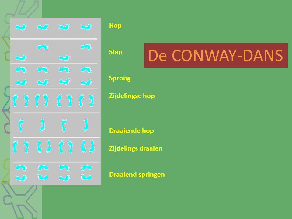 De CONWAY-DANS Hop Stap Sprong Zijdelingse hop Draaiende hop