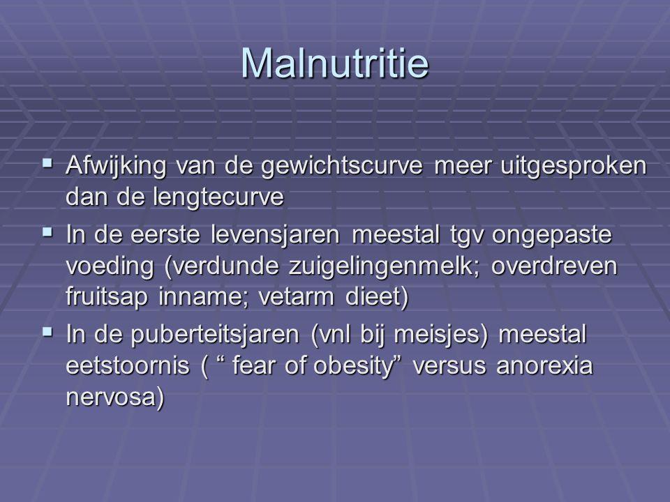 Malnutritie Afwijking van de gewichtscurve meer uitgesproken dan de lengtecurve.