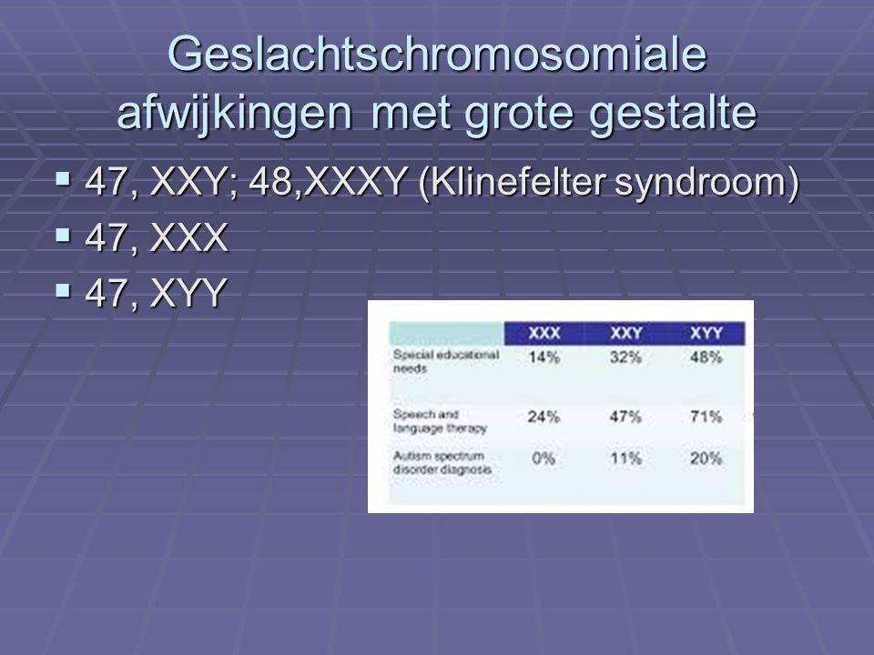 Geslachtschromosomiale afwijkingen met grote gestalte