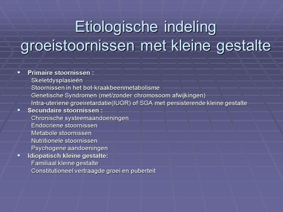 Etiologische indeling groeistoornissen met kleine gestalte