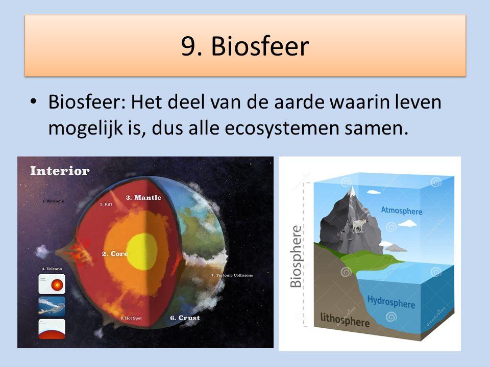 9. Biosfeer Biosfeer: Het deel van de aarde waarin leven mogelijk is, dus alle ecosystemen samen.