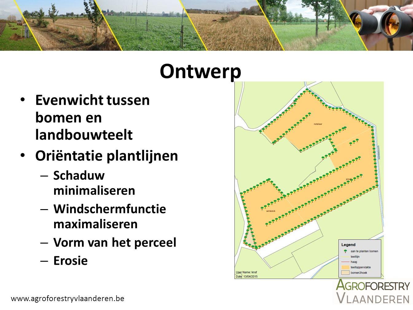 Ontwerp Evenwicht tussen bomen en landbouwteelt Oriëntatie plantlijnen