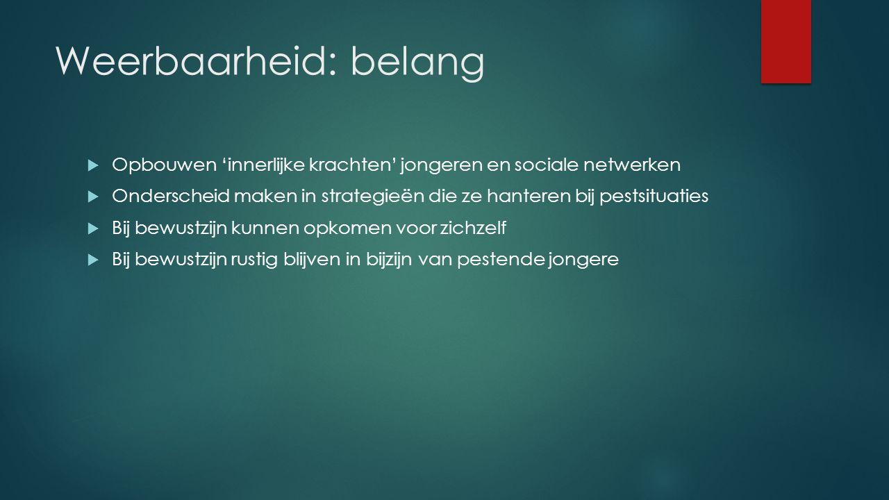 Weerbaarheid: belang Opbouwen 'innerlijke krachten' jongeren en sociale netwerken.