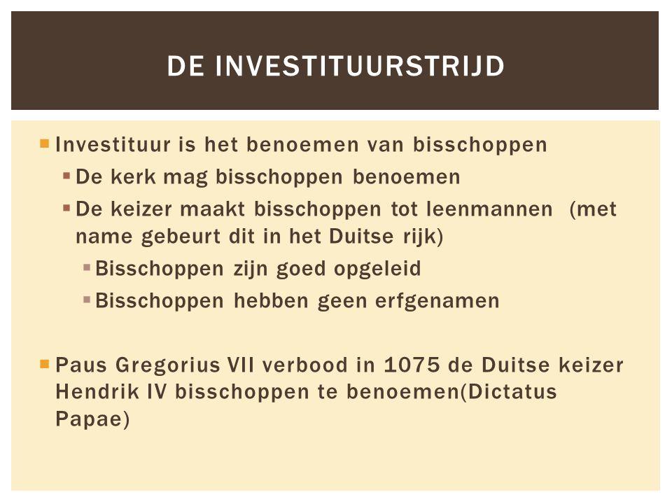 De investituurstrijd Investituur is het benoemen van bisschoppen