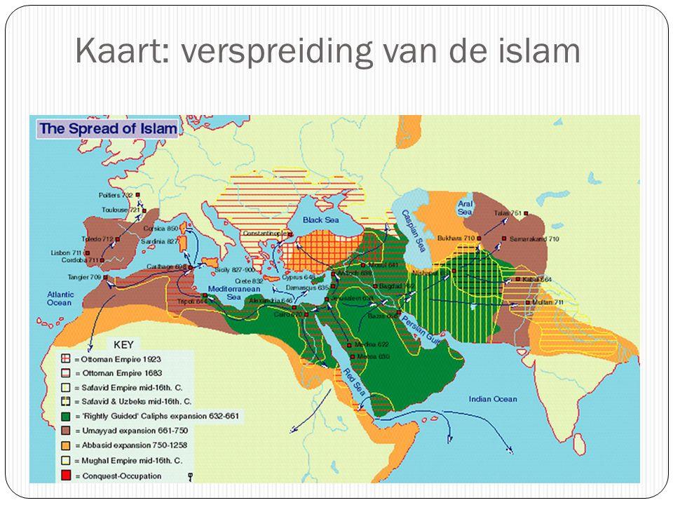 Kaart: verspreiding van de islam
