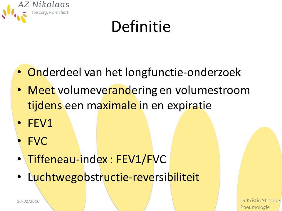 Definitie Onderdeel van het longfunctie-onderzoek