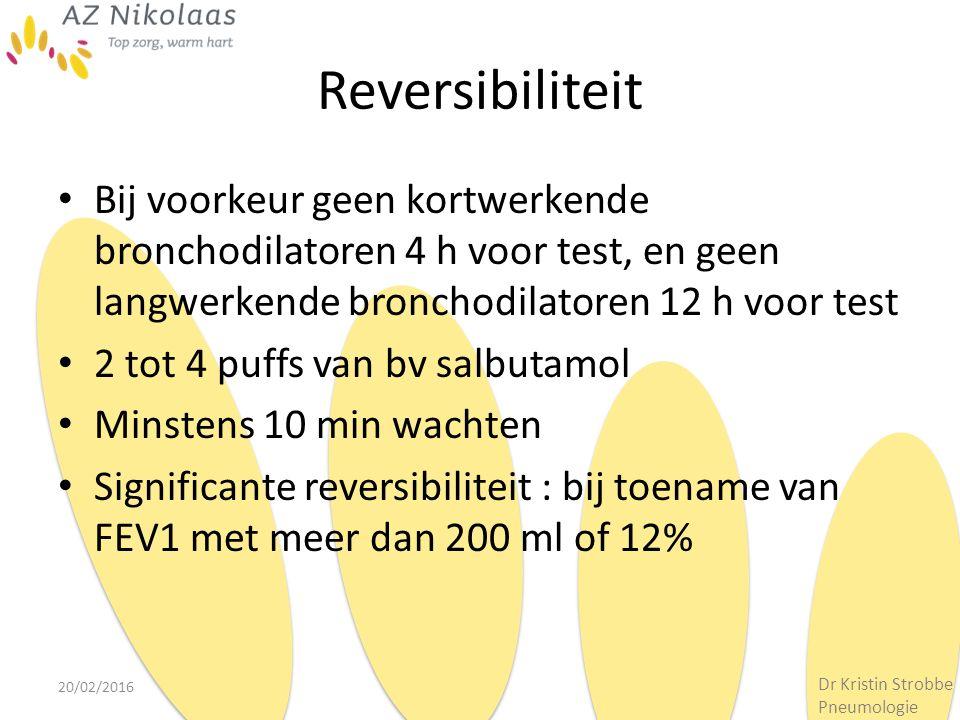 Reversibiliteit Bij voorkeur geen kortwerkende bronchodilatoren 4 h voor test, en geen langwerkende bronchodilatoren 12 h voor test.