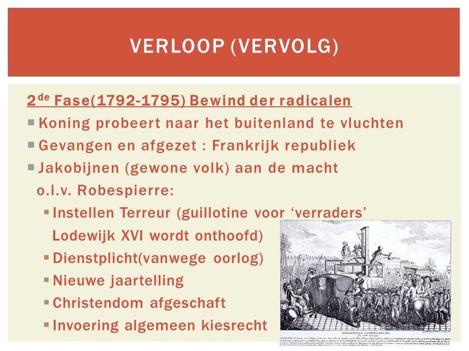 Verloop (vervolg) 2de Fase(1792-1795) Bewind der radicalen