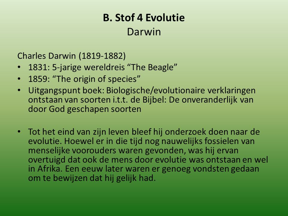 B. Stof 4 Evolutie Darwin Charles Darwin (1819-1882)
