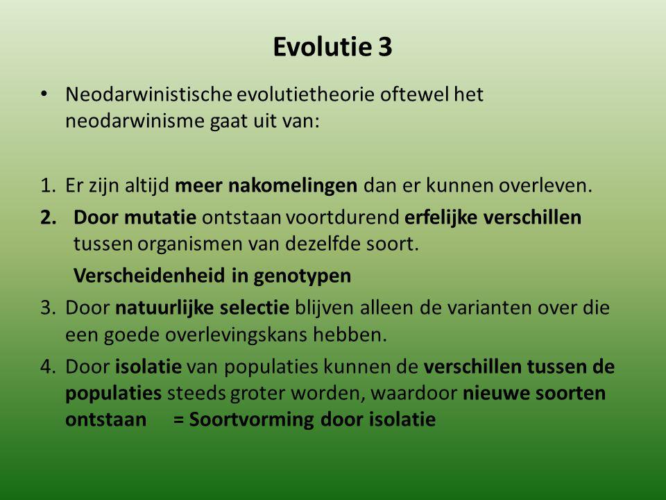 Evolutie 3 Neodarwinistische evolutietheorie oftewel het neodarwinisme gaat uit van: 1. Er zijn altijd meer nakomelingen dan er kunnen overleven.