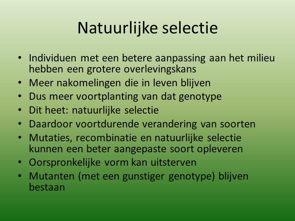 Natuurlijke selectie Individuen met een betere aanpassing aan het milieu hebben een grotere overlevingskans.