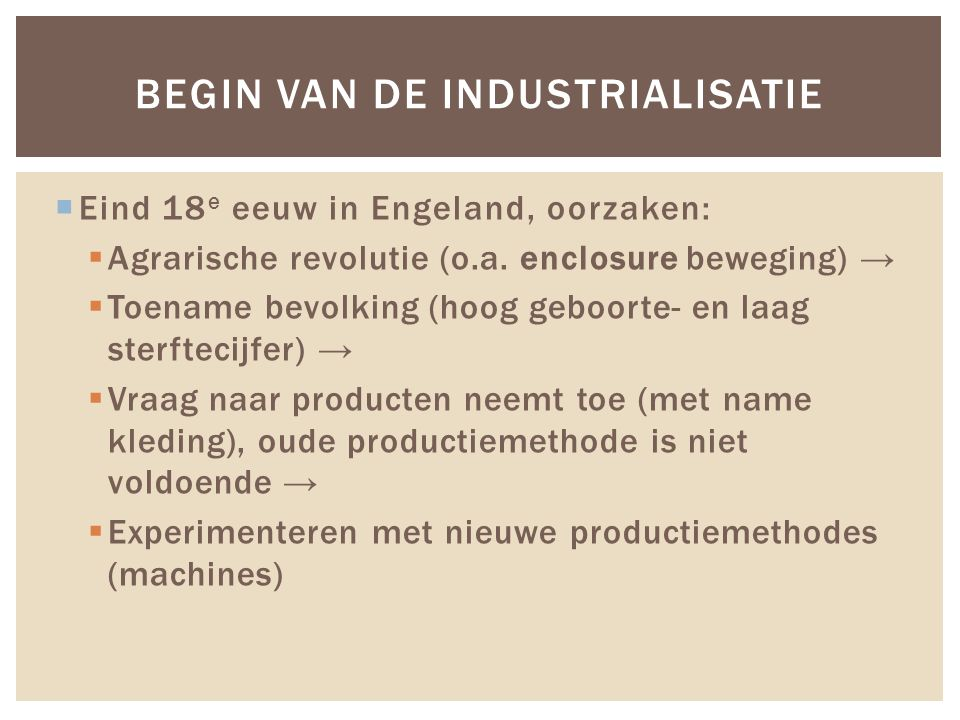 Begin van de industrialisatie