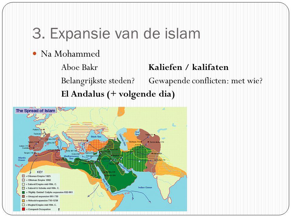 3. Expansie van de islam Na Mohammed Aboe Bakr Kaliefen / kalifaten