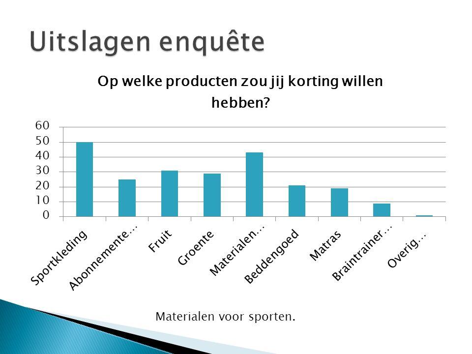 Uitslagen enquête Materialen voor sporten.