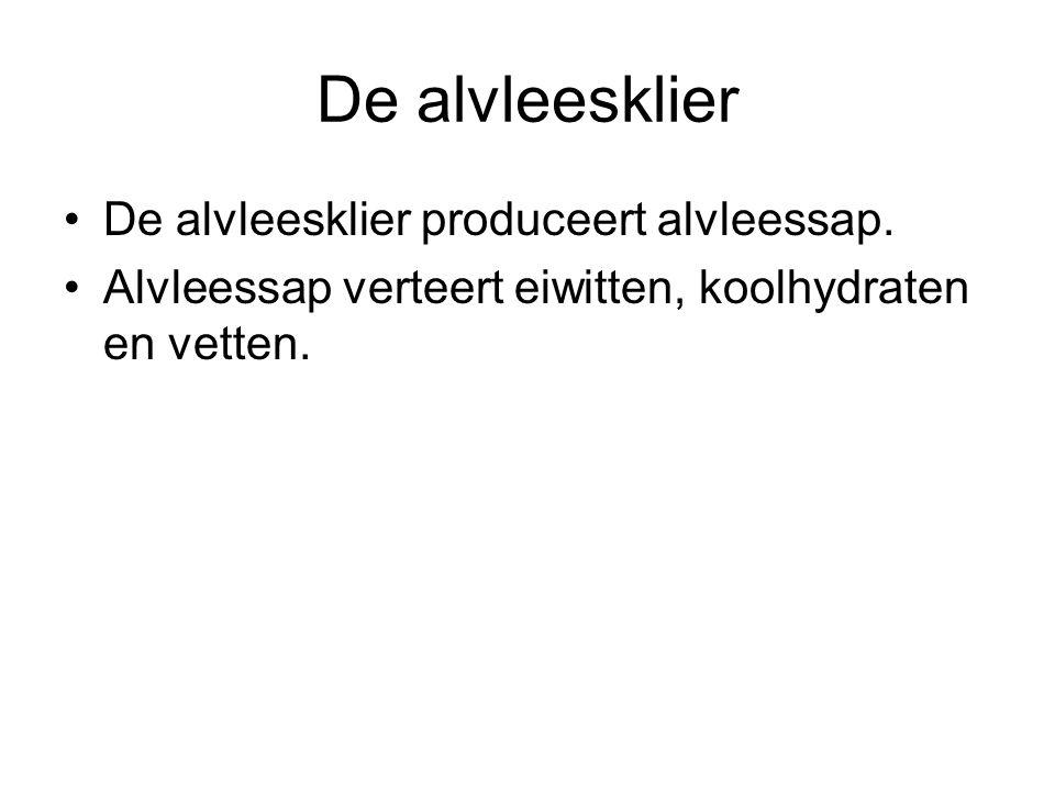 De alvleesklier De alvleesklier produceert alvleessap.