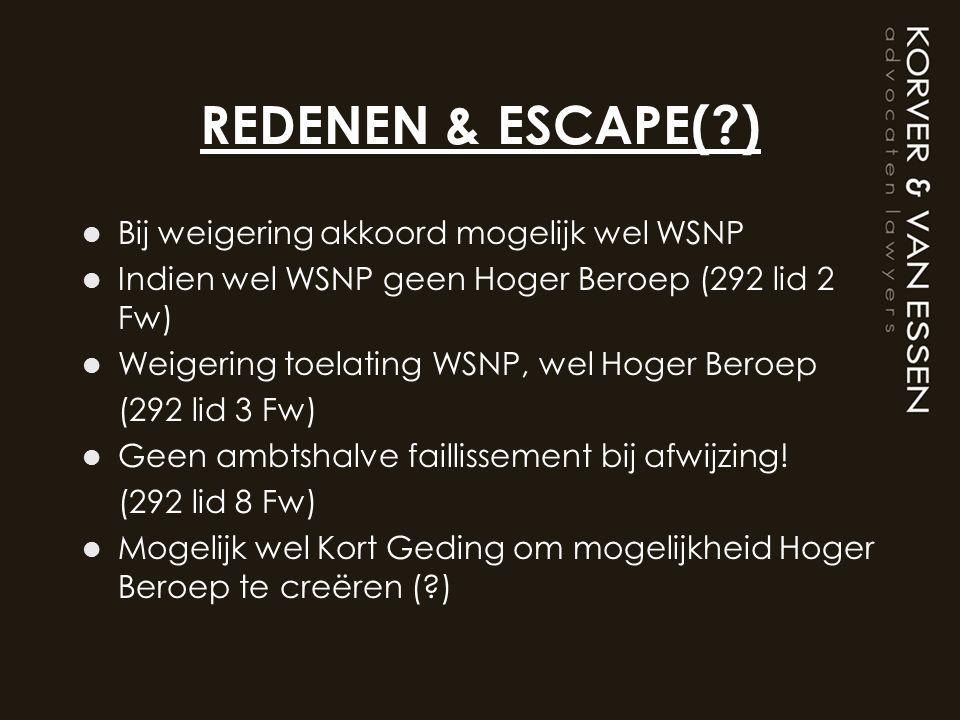 REDENEN & ESCAPE( ) Bij weigering akkoord mogelijk wel WSNP