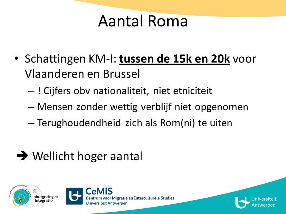 Aantal Roma Schattingen KM-I: tussen de 15k en 20k voor Vlaanderen en Brussel. ! Cijfers obv nationaliteit, niet etniciteit.