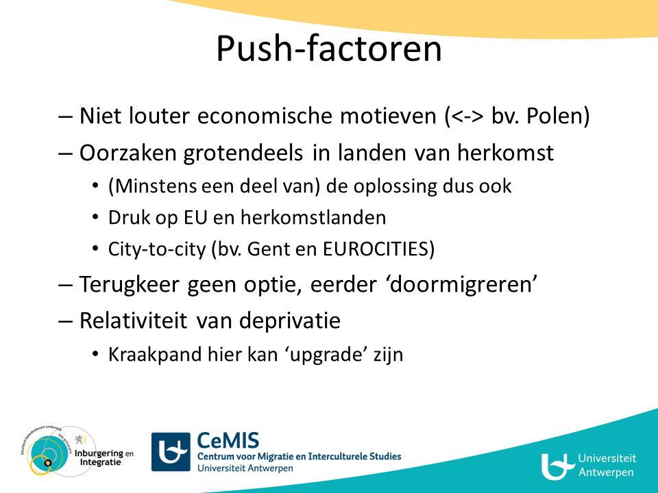 Push-factoren Niet louter economische motieven (<-> bv. Polen)