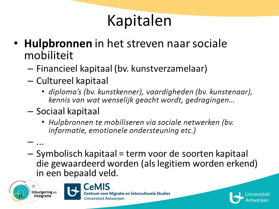 Kapitalen Hulpbronnen in het streven naar sociale mobiliteit