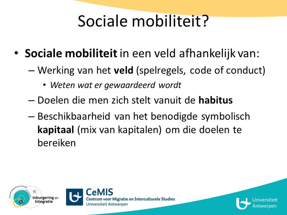 Sociale mobiliteit Sociale mobiliteit in een veld afhankelijk van: